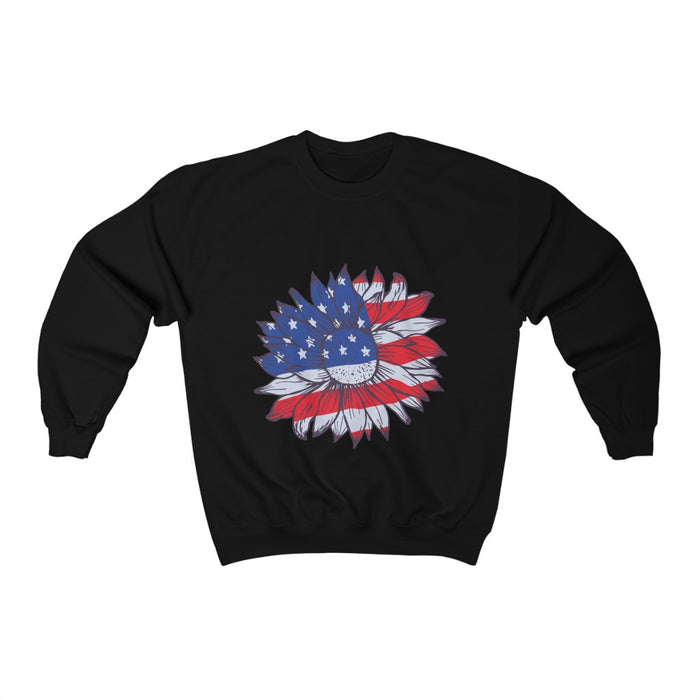 4th of July Unisex Sweatshirts | Patriotic Sunflower Unisex Sweatshirt | sumoearth 🌎