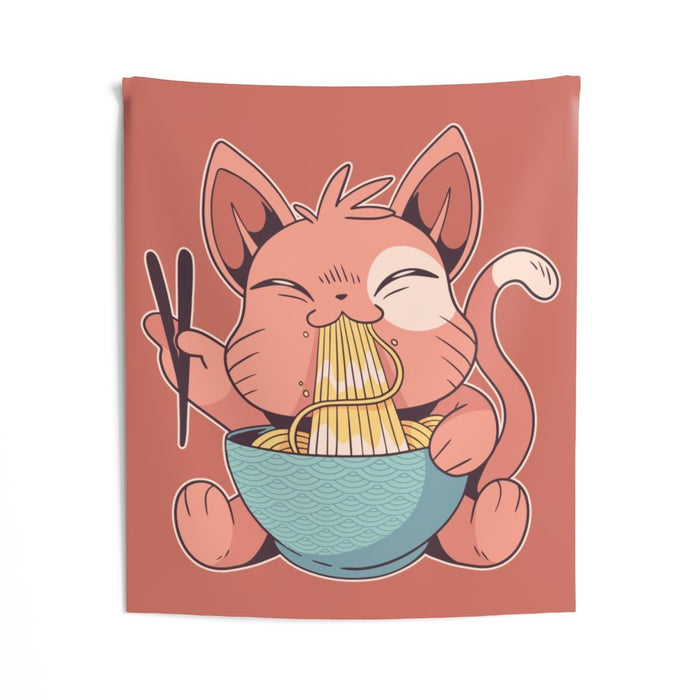 Cat Wall Tapestry | Cat Wall Tapestry - Ramen Cat | sumoearth 🌎
