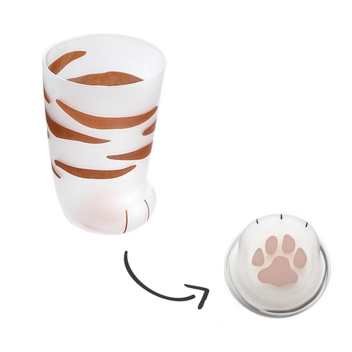 Cat Drinkware | Frosted Cat Paw Milk Glass Mug | SumoEarth