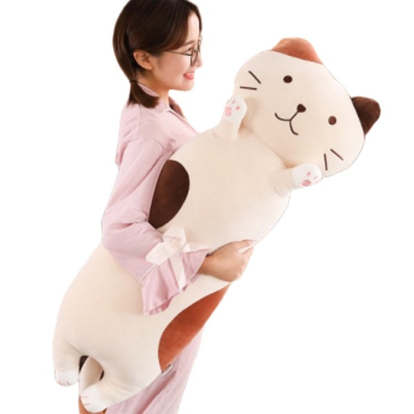 Cat Body Pillow | Pebbles the Stuffed Calico Cat Body Pillow | Soft Plush Toy | sumoearth 🌎