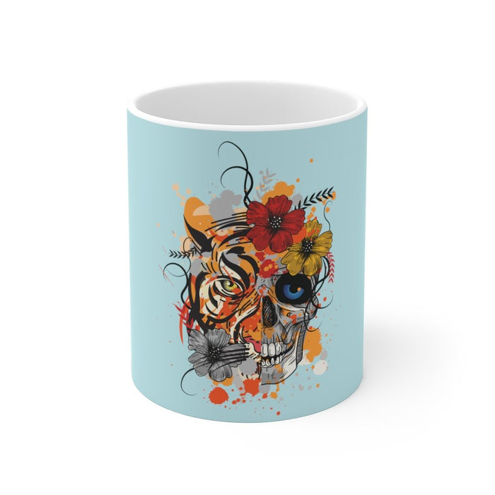 Skull Coffee Mug | Skull Coffee Mug - Abstract Tiger | sumoearth 🌎