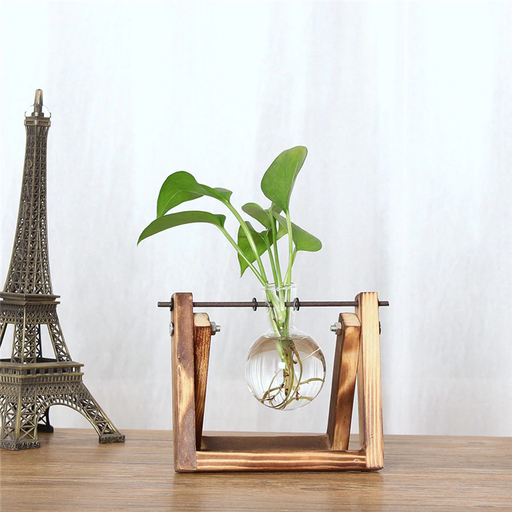 Garden Vase | Decorative X-Shaped Wooden Flower Glass Vase Tabletop Stand | SumoEarth