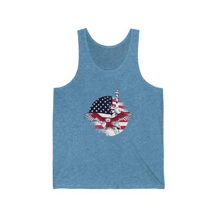 4th of July Tank Tops | American Flag Eagle Unisex Tank Top | sumoearth 🌎