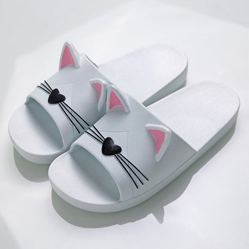 Cat Ear Slippers for Womens - White | sumoearth