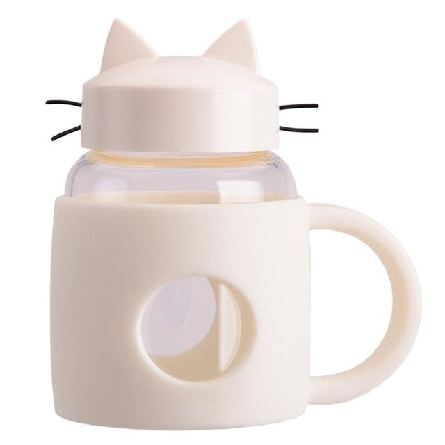 Cat Drinkware | Cat Shaped Glass Mug with Lid | SumoEarth