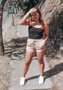 Tan Walk in the Park Shorts - Andrea Louis