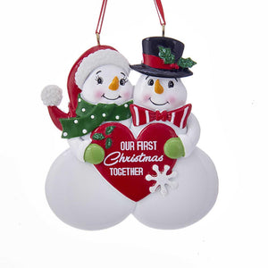 "Kurt Adler ""Our First Christmas Together"" Snow Couple Ornament For Personalization, A1789"