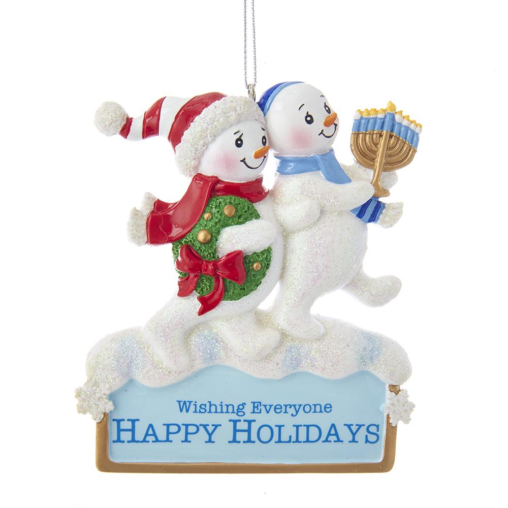 Kurt Adler Hanukkah And Christmas Snowmen Ornament, A1843