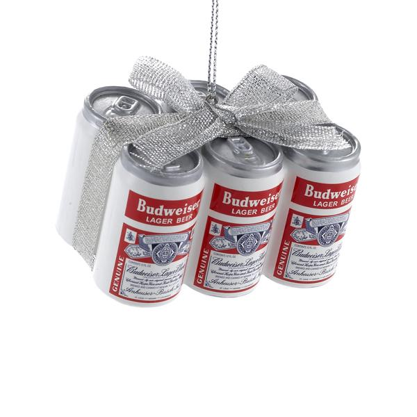 Kurt Adler Budweiser Vintage Can 6-Pack With Bow Ornament, AB1151