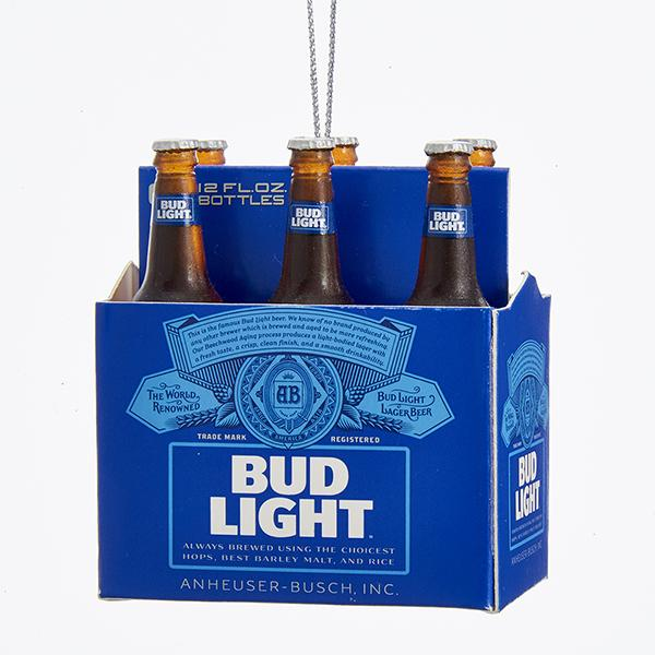 Kurt Adler Budweiser Bud Light 6-Pack Miniature Ornament, AB2111