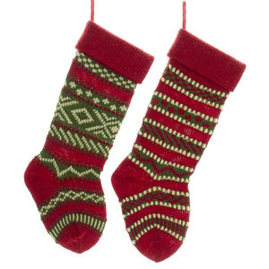 Kurt Adler Heavy Yarn Stockings, 2 Assorted, B0658