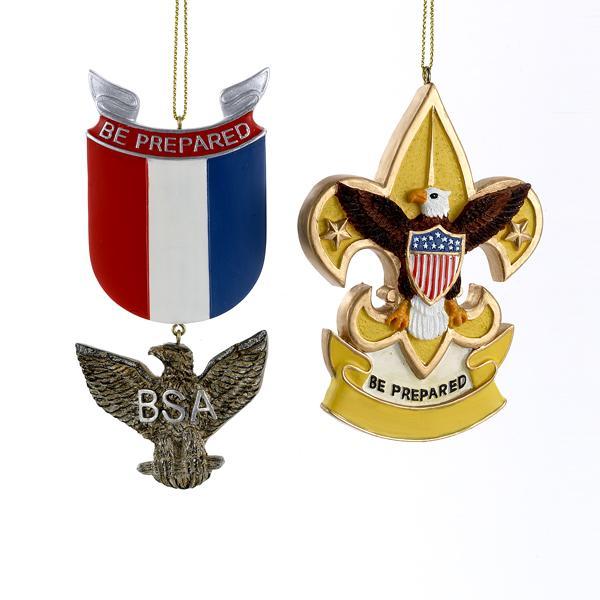 Kurt Adler Boy Scouts Of America Eagle Badge and Fleur De Lis Ornaments, 2 Assorted, BS2146