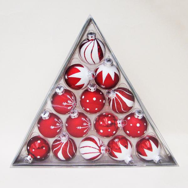 Kurt Adler Miniature Red and White Decorated Glass Ball Ornaments, 15-Piece Box Set, C1852