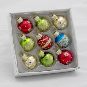 Kurt Adler Petite Treasure Multi-Colored Decorated Glass Ball Ornaments, 9-Piece Box Set, C1899