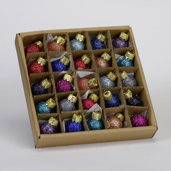 Kurt Adler 20MM Miniature Glitter Glass Ball Ornaments, 25-Piece Box Set, C1962