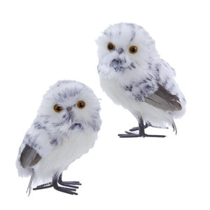 Kurt Adler White and Black Owl Ornaments, 2 Assorted, C2281