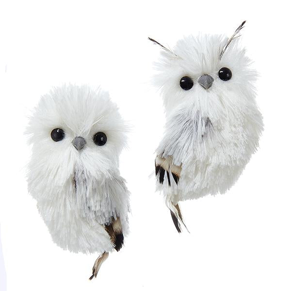Kurt Adler White and Silver Hanging Owl Ornaments, 2 Assorted, C2289