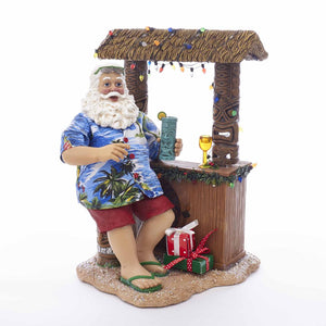 Kurt Adler 11-Inch Fabriche Beach Santa Sitting At Tiki Bar, C2519