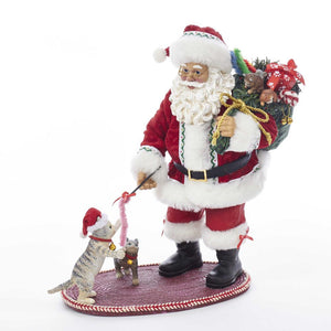 Kurt Adler 10.5-Inch Fabriche Santa Playing With Cat, C2521