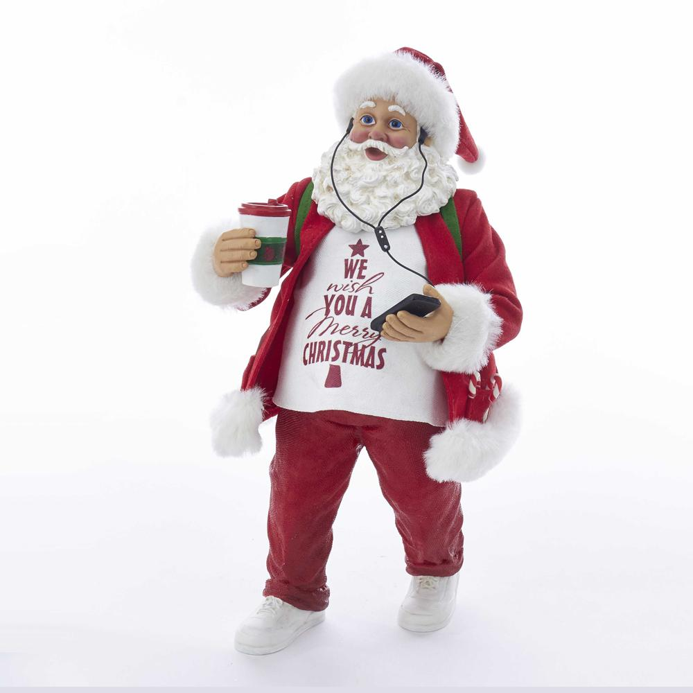 Kurt Adler 10.5-Inch Fabriche Santa Listening To Music With Coffee, C2523