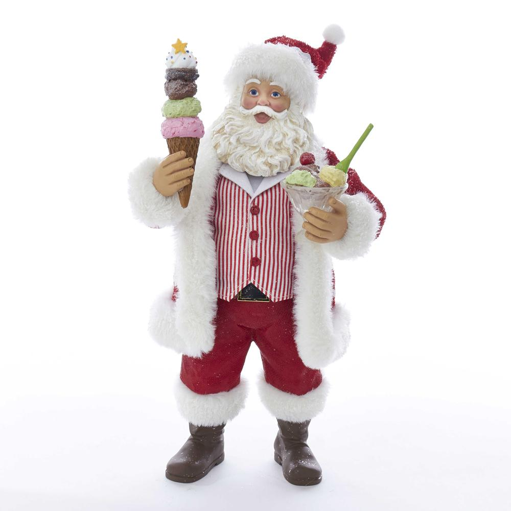 Kurt Adler 11-Inch Fabriche Santa With Ice Cream Sundae and Cone, C2524