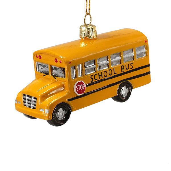 Kurt Adler Noble Gems School Bus Glass Ornament, C4374