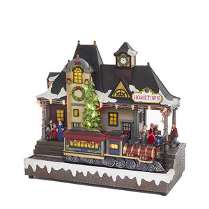 Kurt Adler Battery-Operated LED Musical Village With Moving Train, C5613
