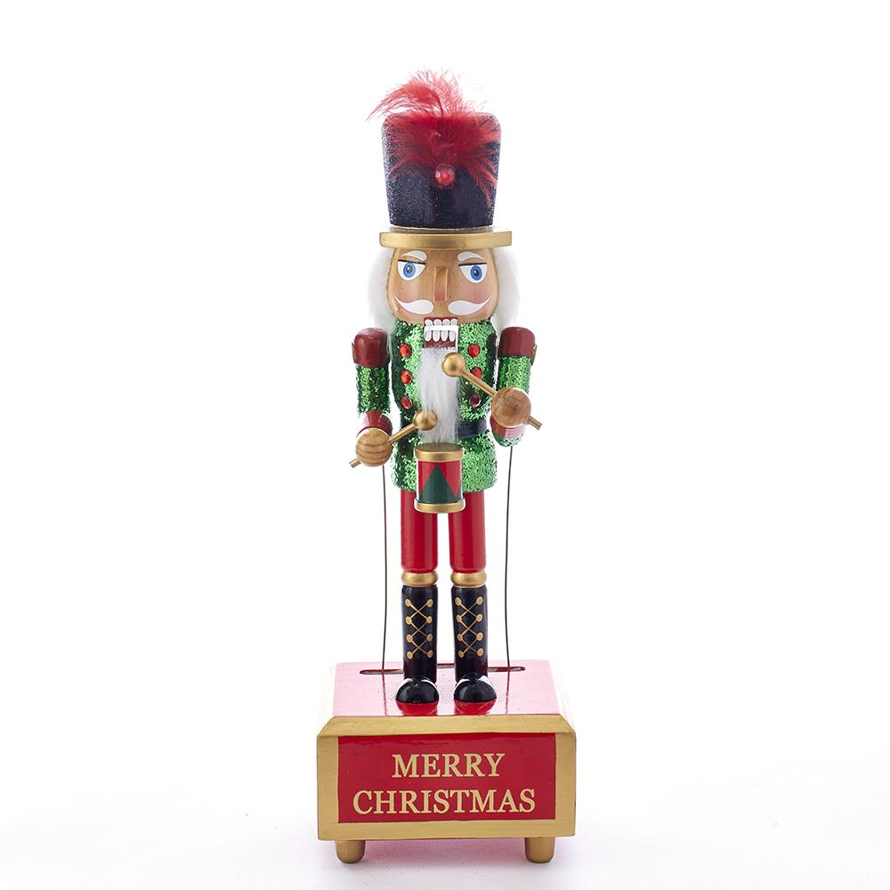 Kurt Adler 12-Inch Wooden Musical With Motion Drummer Nutcracker, C5869