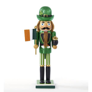 Kurt Adler 15-inch Irish Nutcracker With Flag and Pot of Gold, C6290