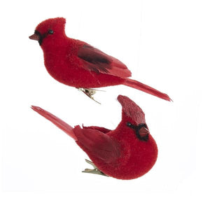 Kurt Adler Red Flocked Cardinal With Clip Ornaments, 2 Assorted, C7052