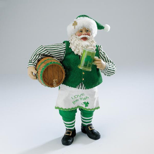 Kurt Adler Fabriche Musical Irish Santa With Beer Barrel, C7418