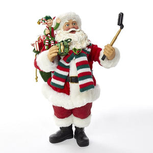 Kurt Adler 10-Inch Fabriche Selfie Taking Santa With Elf Helper, C7466