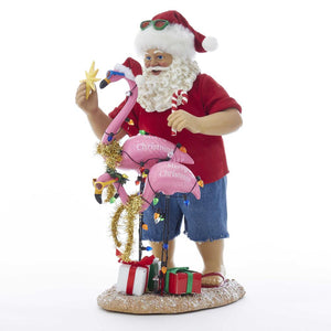 Kurt Adler 10-Inch Fabriche Beach Santa With Flamingo, C7488