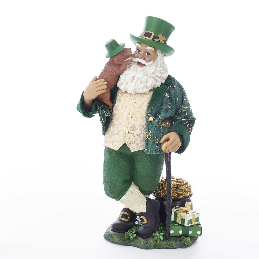 Kurt Adler 11-Inch Fabriche Musical Irish Santa With Dog and Walking Cane, C7490