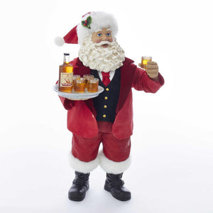 Kurt Adler 10.5-Inch Fabriche Santa With Whiskey Bottle and Glasses, C7497