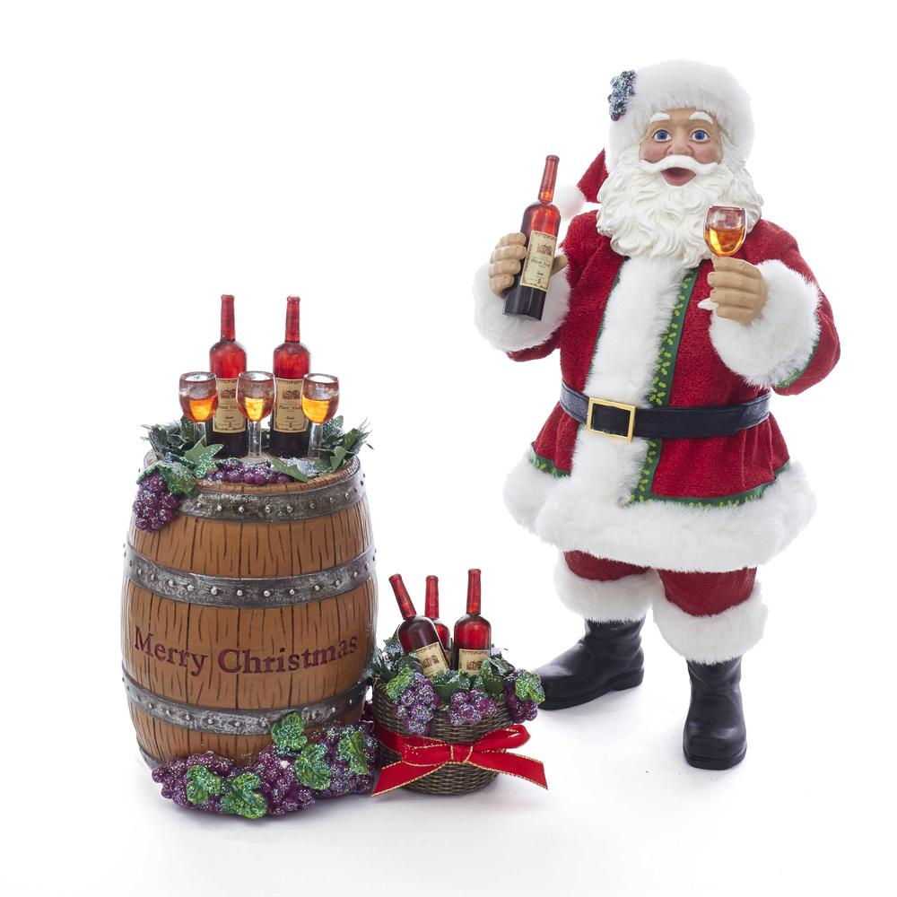 Kurt Adler 10.5-Inch Fabriche Santa With Wine Bottle and Glass, 2 Piece Set, C7498