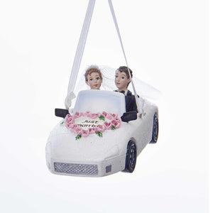 Kurt Adler Wedding Couple In Car Ornament For Personalization, C7619