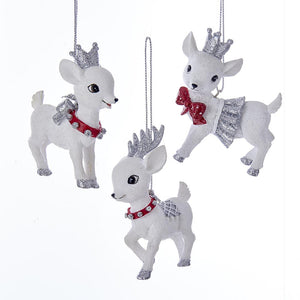 Kurt Adler Red and Silver Baby Deer Ornaments, 3 Assorted, C7633