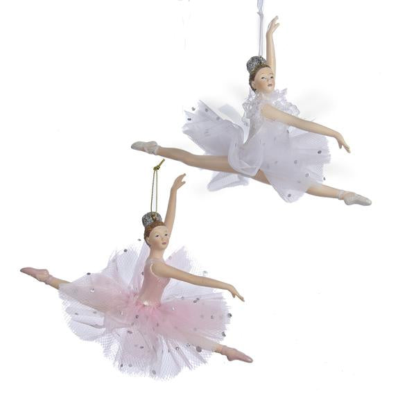Kurt Adler Pink and White Ballerina Ornaments, 2 Assorted, C8157