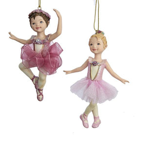 Kurt Adler Red and Pink Ballet Girl Ornaments, 2 Assorted, C8339
