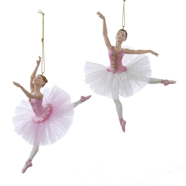Kurt Adler Pink Ballerina Ornaments, 2 Assorted, C8887
