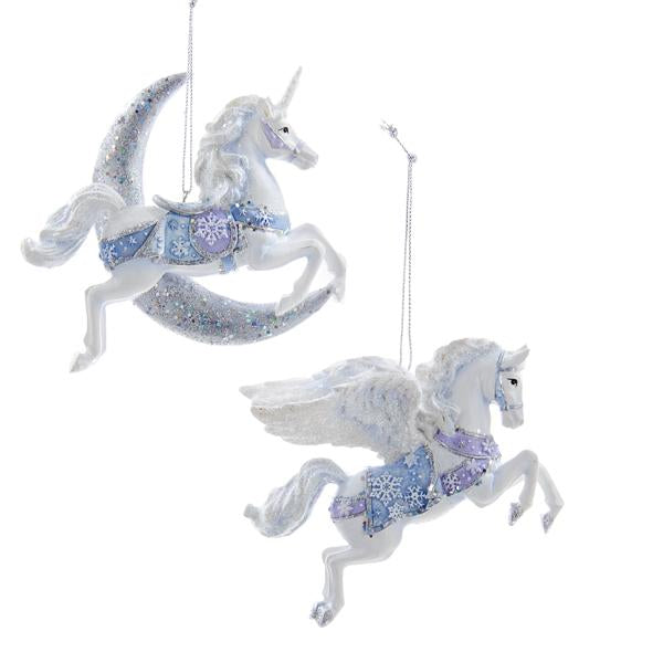 Kurt Adler Frosted Kingdom Unicorn and Pegasus Ornaments, 2 Assorted, C8904