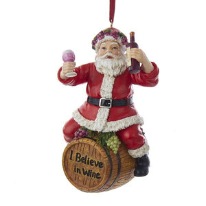 Kurt Adler Wine Santa Sitting On Barrel Ornament, C8998