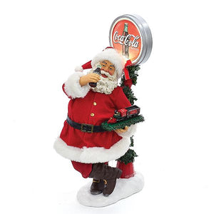 Kurt Adler Coca-Cola Battery-Operated Santa With LED Light-Up Coke Sign Table Piece, CC5162