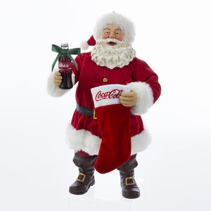 Kurt Adler Coca-Cola Santa With Coke Bottle and Stocking Table Piece, CC5172