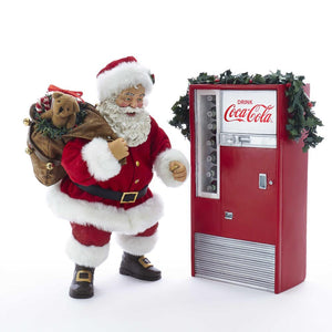 Kurt Adler Battery-Operated Santa with Coke Machine, 2-Piece Set, CC5182