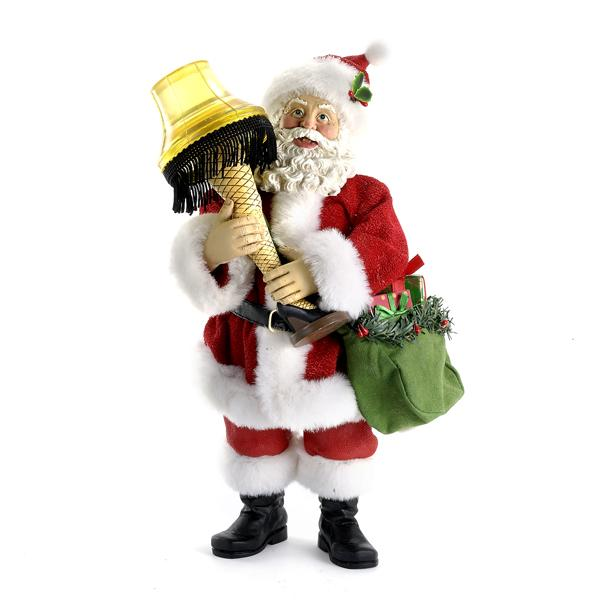 Kurt Adler 10-Inch A Christmas Story Battery-Operated Fabriche Santa With Leg Lamp, CS5154