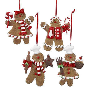 Kurt Adler Peppermint Gingerbread Ornaments, 4 Assorted, D0655