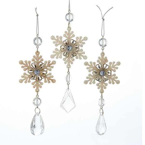 Kurt Adler Platinum Snowflake Drop Acrylic Ornaments, 3 Assorted, D1263