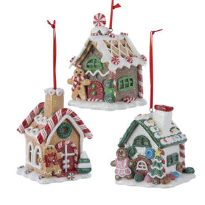 Kurt Adler Claydough Gingerbread House Ornaments, 3 Assorted, D1477